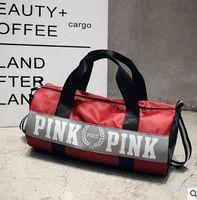 Wholesale Pink Gym Bags - VS pink Women Gym Handbag Sports Bags Victoria Large Capacity Travel Hiking Duffle Striped Waterproof Beach Bag Secret Girls Shoulder Bag