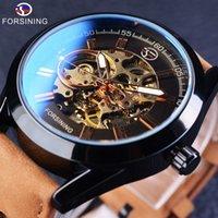 Wholesale transparent wrist watch men - Forsining 2017 Casual Sport Series Waterproof Automatic Men Wrist Watch Brand Luxury Mechanical Transparent Skeleton Watches