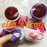 Wholesale Mobile Coffee - squishies wholesale 10pcs antistress squishy toys kawaii hello kitty coffee cup squishy with tags mobile phone keychain straps Free Shipping