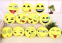 emoji cushion venda por atacado-Emoji Almofadas Emoji Travesseiros Dos Desenhos Animados Recheado de Pelúcia Brinquedos Boneca de Natal para Crianças Amarelo Rodada Almofada para o Carro Escritório Decoração de Casa