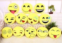 Wholesale emoji pillows for sale - Group buy Emoji Cushions Cartoon Emoji Pillows Stuffed Plush Toys Christmas Doll for Kids Yellow Round Cushion for Car Office Home Decoration