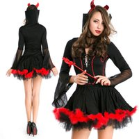 Wholesale Cheap Cosplay Fast Shipping - Fast Shipping Wholesale Halloween Decorations Long Sleeve Sexy Black Costume Gown Mini Length Christmas Ornaments Cheap Cosplay Robe