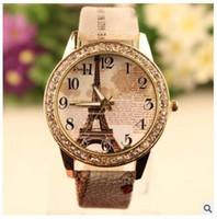 эйфелева башня браслет смотреть оптовых-Ретро Эйфелева Башня Pattern браслет часы женские дамские марки кварцевые роскошные моды горный хрусталь алмазные часы Наручные часы подарки Аксессуары
