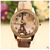 Wholesale Leather Brown Diamonds Bracelet - Retro Eiffel Tower Pattern bracelet watches women ladies brand quartz luxury fashion rhinestone diamond watch Wristwatches gifts Accessories