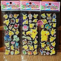 Wholesale Reward Stickers - 3D Cartoon Sticker Poke Pikachu Wall Stickers UV Wallpaper Nursery Children Kids Room Bedroom Wall paster Kindergarten Reward 6.75*16.9cm
