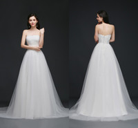 Wholesale Empire Sweet 16 Dress - Sweet Strapless Garden Wedding Dresses Lace Top Soft Tulle Beach Wedding Gowns Summer Cheap Wedding Gowns Robe CPS762