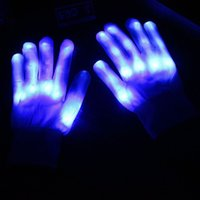 Amazing Blue Color LED Gloves Skeleton Light Up Shows Light Up Knit Clignotant LED Finger Mittens pour Halloween Costume Nouveauté Toy