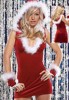 Wholesale Miss Santa Costumes - Adult Sexy Christmas Miss Santa Ladies Fancy Dress Xmas Party Costume Outfit Mascot Costumes 7183