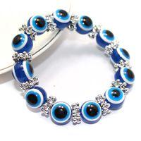 contas de jóias venda por atacado-Azul Turquia Evil Eye Pulseira lampwork grânulo de vidro azul Pulseira Azul evil eye pulseira de Jóias de Presente de Natal Dia Das Bruxas