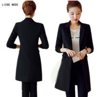 Wholesale Korean Long Blazers For Women - 2017 Spring Autumn Ladies Black Long Blazers and Jackets Korean Style Suit For Women Cardigan Blazer Fashion Clothing