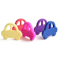 Wholesale Cute Toddler Toys - Cute Silicone Teething Car Toys BPA Free Baby Teether Chew Pendant Pacifier Clip Charms for Baby Toddlers Toys Nursing Soother