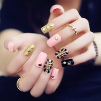 Wholesale Nail Stickers Flags - 24pcs set fashion pink base flag Glitter gold metal rivet Nail Art False Fake Nail Tips Stickers With Glue
