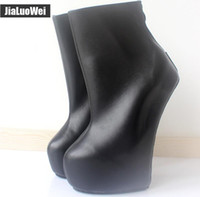 Wholesale high sole motorcycle boots - New 20cm High Heels 5cm Platform Women Sexy Ankle Ballet Boots Fetish Heelless strange style Sole pony Heel Back zip Fashion Wedges Boot