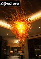 Fancy Fire Glass Chandelier Amber Cor Crystal Murano Glass Chihuly Lâmpada 100% Hand Blown Glass LED Chandelier Light Fixture
