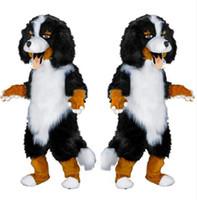 siyah beyaz çizgi film kostümleri toptan satış-2017 Hızlı tasarım Özel Beyaz Siyah Koyun Köpek Maskot Kostüm Karikatür Karakter Fantezi Elbise parti kaynağı Yetişkin Boyutu için
