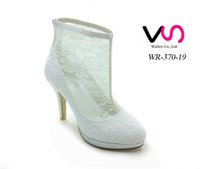 Wholesale Cowgirl Winter Boots - Fashion White Lace Bridal Wedding Boots Shoes Mid Heels Knee Length Cowgirl Bridal Boots Custom Made Fall Winter Black Lace Long Shoes