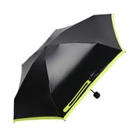 mini paraguas negros al por mayor-Sombrilla micro paraguas negro compacto manual ligero paraguas de plástico negro Impermeable a prueba de viento a prueba de viento Toldo reforzado mango ergonómico