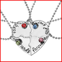 Wholesale Bitch Gifts - 2016 4part crystal best friend forever broken heart pendant nekclace for women best friends bitch necklaces Christmas gift jewelry 161581