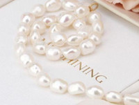 Wholesale 14k yellow gold chain 18 - AAA 10-13MM SOUTH SEA WHITE BAROQUE PEARL NECKLACE 18 INCH 14K YELLOW GOLD CLASP