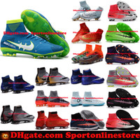 Wholesale Eva Kids Shoes - Children Soccer Shoes Kids Soccer Cleats CR7 Cristiano Ronaldo Men Mercurial Superfly FG TF High Top Youth Boys Football Boots Women Turf