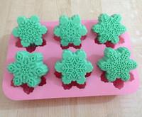 flexible süßigkeiten formen großhandel-Unterschiedliche Schneeflocke-Kuchen-Form-flexible Silikonseifen-Form für handgemachte Seifen-Kerze Süßigkeit backformen-Backenformküchenwerkzeug-Eisformen