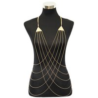Wholesale Belly Cross - Gold Tone Triangle Charms with Cross Fine Chain Body Chain Bikini Summer New Arrival BC071