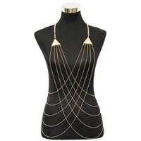 Wholesale Trendy Bikinis - Gold Tone Triangle Charms with Cross Fine Chain Body Chain Bikini Summer New Arrival BC071