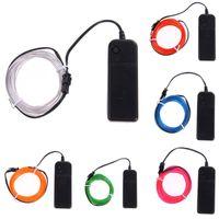 освещение с гибкой светодиодной подсветкой оптовых-Edison2011 1M 2M 3M 5M EL Wire Strip 9 Цветов Гибкий Неоновый Светодиод Светящиеся Трубки Провода Танцевальные Огни Украшение Партии