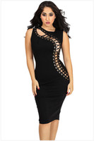 Wholesale Black Cocktail Dress Europe - New Europe Fashion Women's Clubwear Dress Bandage Lace Up Hollow Out Sexy Bodycon Dress Lady's Cocktail Party Slim Black Dress