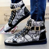 Wholesale Style Leather Mens Boot - Men casual shoes pu Leather fashion Style Serpentine 2016 Spring Mens sport flat shoes Young Man hip hop street dance shoes