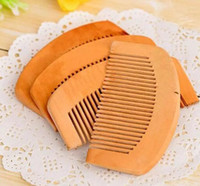 Wholesale anti static hair brush - 100Pcs Wooden Comb Natural Health Peach Wood Anti-static Health Care Beard Comb Pocket Combs Hairbrush Massager Hair Styling Tool