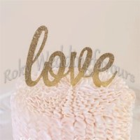 Wholesale cupcake shipping supplies - Free Shipping 24PCS Gold LOVE Glitter Cupcake Picks Topper Party Event Gifts Mini Cake Picks Sweet Table Decoration Toothpicks Supplies