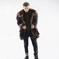 Wholesale Men Faux Fur Parka - New Winter Faux Fur Long Coat For Men Long Sleeve Hooded Warm Parka Jacket Outwear Black Fur Trim Windbreaker Skiing Coats