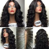 Wholesale grade 7a peruvian wavy wigs resale online - Grade A Brazilian hair wavy hair stye front lace wig glueless full lace wig short human hair wigs on sale