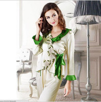 Wholesale Silk Lingerie Woman Size - Fashion Women Silk Lingerie Pajamas Suit White Sexy Set V-neck Embroider Cropped Plants Comfortable Ladies Sleepwear Plus Size