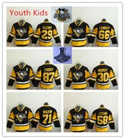 Wholesale Lemieux Jerseys - Custom Kids Boys 2017 Stanley Cup Final Champions Pittsburgh Penguins Youth Hockey Jersey 87 Sidney Crosby 71 Evgeni Malkin Lemieux Letang
