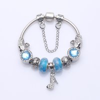 Wholesale High Heel Dangle Charms - Fashion Beaded Charm Bracelets with Radiant Crystal Charms & High Heel Shoes Dangles DIY Snake Chain Bangle Bracelets Party Jewelry BL260