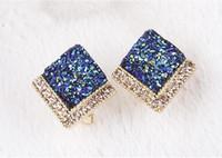 Wholesale Wholesale Red Rhinestone Square Studs - Luxury Wedding Stud Square Blue Sapphire Earrings Stud Filled Small Rhinestone Elegant Earrings for Girls free shipping
