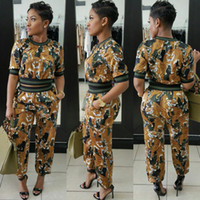 Wholesale Women Tiger Print Pants - 2017 Fashion 2 Pieces Set Women Long Sleeve Printed Tiger Jacket Top and Pant Suit Casual Sweatsuit Set Bodycon Women Casual Suits Jumpsuit