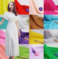 Wholesale Georgette Dresses Wholesale - Wedding Lining Chiffon Yarn Chiffon Fabric Georgette Fabric Cloth Solid Color Maghreb One-piece Dress