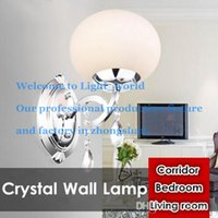 Wholesale Glass Crystal Chandelier Shades - Brief one head Glass Shade Crystal Wall Lamp Chandelier Light Fashion Chandelier Circular Lamps Living room Bedroom Corridor Balcony Light