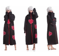 Wholesale Naruto Costume Cloak - Fashion Free Shipping to world FS Promotion New Anime Costumes Naruto Akatsuki Cosplay Cloak Size S M L XL XXL top sale superb!