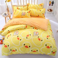 Wholesale Pink Butterfly Duvet Set Cotton - Wholesale- 2016 fashion Cartoon Rubber Duck butterfly Italy Fishing Bedding setsTwin Full Queen size four-piece sheet beautiful Bed Sheet