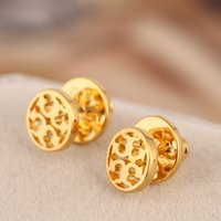 Wholesale Gold Plate Round Earrings - Brand name hollow round geometry Stud Earring in 1.0cm women wedding gift jewelery PS5681