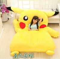 Wholesale pokemon stuffed set - 2016 New Japan Anime Poke Pikachu Stuffed Large Cartoon Japanese Bed Mattress Pad Bedding Set Mat Memory Foam Cushion Summer Tatami