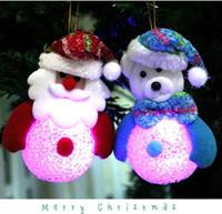 Wholesale Christmas Tree Night Lights - 2017 Christmas LED Night Light Eva Crystal Lamp Toys Xmas Ornaments Tree Hanging Decor Home Party Festive Supplies Flashing Decoration