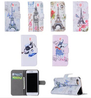 Wholesale Iphone Wallet Paris - Paris Eiffel Tower Wallet Leather Case For Iphone 7 I7 Plus Iphone7 Luxury Big Ben Flower Butterfly Dog Cartoon Stand Pouch Card Cover 50pcs