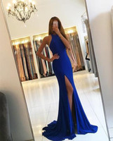 Royal Blue Spandex Straight Formal Abendkleider Halfter Einfache lange Abendkleider High Bein Split Slit Party Kleider Open Back Graduation