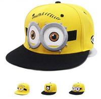 Wholesale Wholesale Minions Winter Hats - 2016 Baseball Cap Children Gorras Yellow Cartoon Minions Casquette God Steal Dads Film Canvas Flat Snapback Hip Hop Hat
