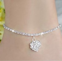 Wholesale Wholesale Anklet Jewelry - Women's line New Women Lady Crystal Rhinestone Love Heart Anklet Ankle Bracelet Chain Jewelry